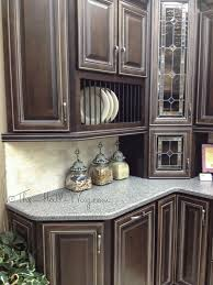 espresso stained maple cabinets with khaki glaze kitchen ideas