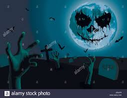 halloween night full moon with scary emotion cemetery with graves