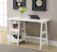 Small Desk Bookshelf Convenience Concepts Trestle Bookcase White Kitchen