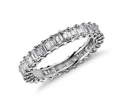 2 5 Cushion Cut Diamond Engagement Ring Emerald Cut Diamond Eternity Ring In Platinum 2 Ct Tw Blue Nile
