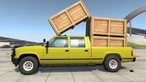 wooden pickup truck beamng drive d 35 beast pickup truck transporting 3 wood crates
