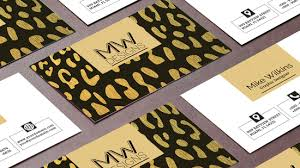 business card psd templates in black and gold jungle theme