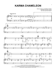 download karma chameleon sheet music by culture club sheet music