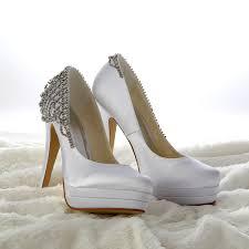 white wedding shoes s satin stiletto heel closed toe platform white wedding