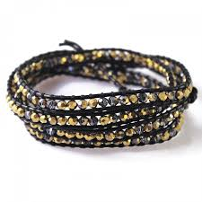 wrap bracelet with beads images Black and gold faceted beads brown leather wrap bracelet 3x 4x jpg