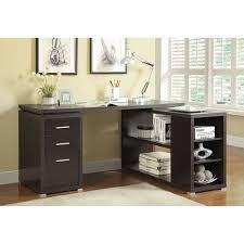parson corner desk with shelving unit dark brown