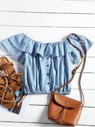 s blouse flounce shoulder striped cropped blouse blue blouses s zaful