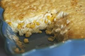 fresh corn pudding a plate