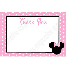 minnie mouse thank you cards minnie mouse light pink printable thank you card