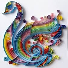 quilled paper art colourful swan handmade