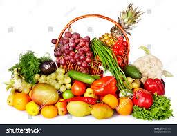 fruit and vegetable basket fruit vegetable basket isolated stock photo 96307781