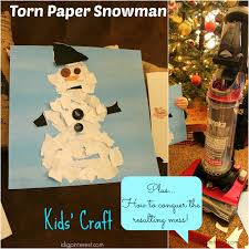 torn paper snowman kids u0027 craft and how to easily clean the mess