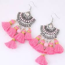 arabian earrings c10124181 pink dangling tassel bohemian arabian earrings malaysi