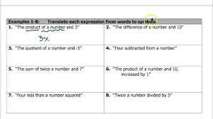 worksheet translate algebraic expressions 1 7 translating expressions equations inequalities you inequalities