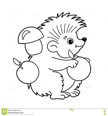 coloring outline cartoon hedgehog apples
