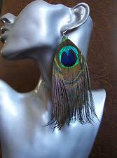 peacock feather earrings s feather clip on drop dangle fashion earrings ebay