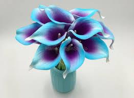 purple calla lilies blue purple calla bouquet 10 real touch calla lilies