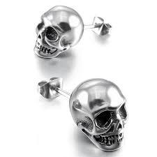 skull stud earrings mens skull stud earrings skull pavilion
