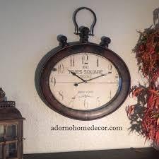 Decorative Metal Wall Clocks Large Metal Oval Wall Clock Rustic Decor New York Industrial