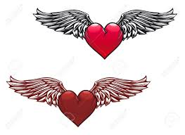 retro heart with wings for tattoo design royalty free cliparts