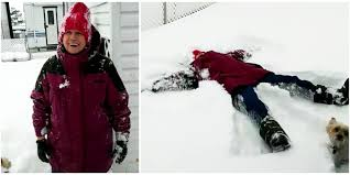 78 year old grandma makes perfect snow angel with help from family
