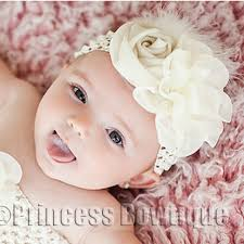 headband baby ivory chiffon infant baby vintage headband princess