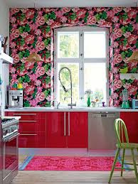 Pink And White Striped Rug Dark Brown Cabinets Peach Wallpaper White Refrigerator And
