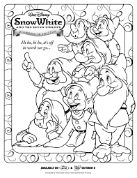 7 dwarfs coloring pages disney snow white printable coloring pages