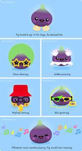 fig jig cute jokes with kawaii fruit and vegetable cartoons