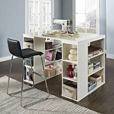 counter height desk with storage counter height craft table sewing machine storage workspace desk art