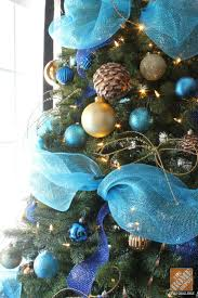 tree decorating ideas turquoise blue bronze tulle