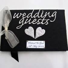 black wedding guest book silver hearts black wedding guest book folksy