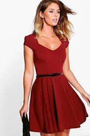 simple sleeveless knee length cranberry red cocktail dress