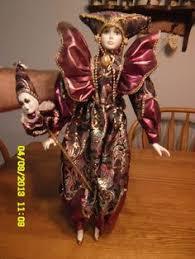 pierrot harlequin jester ceramic plush doll 12 purple mardi gras