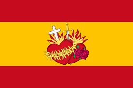 Spanish Flag File Flag Of Spain With The Sacred Hearts Of Jesus And Mary