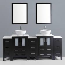 contemporary 84 inch espresso finish double round sink bathroom
