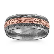 contemporary damascus steel ring with 14k gold accent 8mm