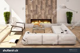 living room fireplace big sofa armchair stock illustration