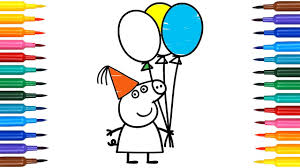 how to draw peppa pig birthday party coloring pages drawing