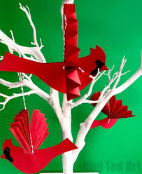 easy paper fan cardinal ornament for ted s