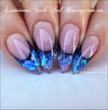 luminous nails luminous sapphire blue acrylic nails step by