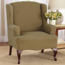 Wingback Chair Slipcover Pattern Brown Pattern Linen Wingback Chair Slipcover With Curved Brown