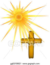 clip brown cross sun rays stock illustration