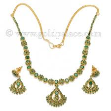 emerald earrings necklace images Emerald necklace and earring 22k gold gold palace jewelers inc jpg