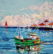 old irish boat original seascape oil painting painting 40x40x1 7 cm