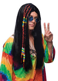 mens hippie hairstyles 1960s long black hair wig 60s 70s hippie adult men male costume