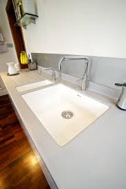 Corian Bathroom Worktops Corian Moulded Sinks In White With Silver Grey Top And Quooker