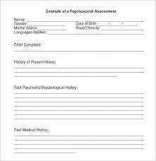 sample psychosocial assessment 6 examples format