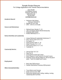 college application resume sample example resume for high