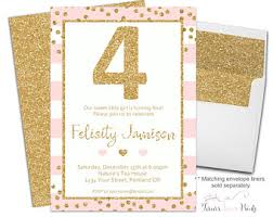 girls 4th birthday invitations printable fourth birthday